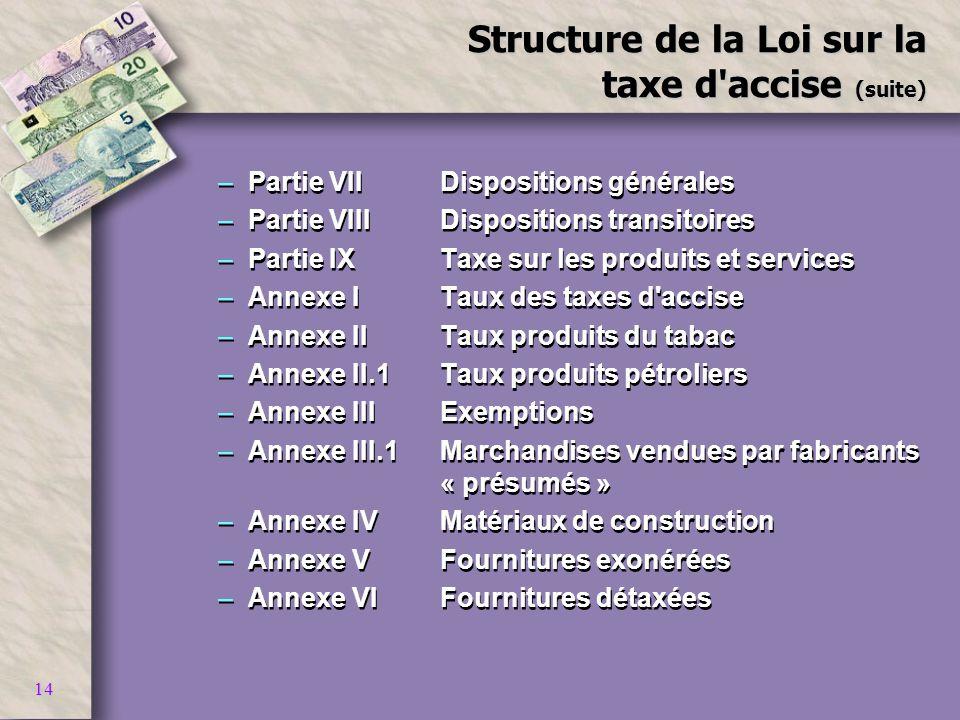 14 Structure de la Loi sur la taxe d'accise (suite) –Partie VIIDispositions générales –Partie VIIIDispositions transitoires –Partie IXTaxe sur les pro