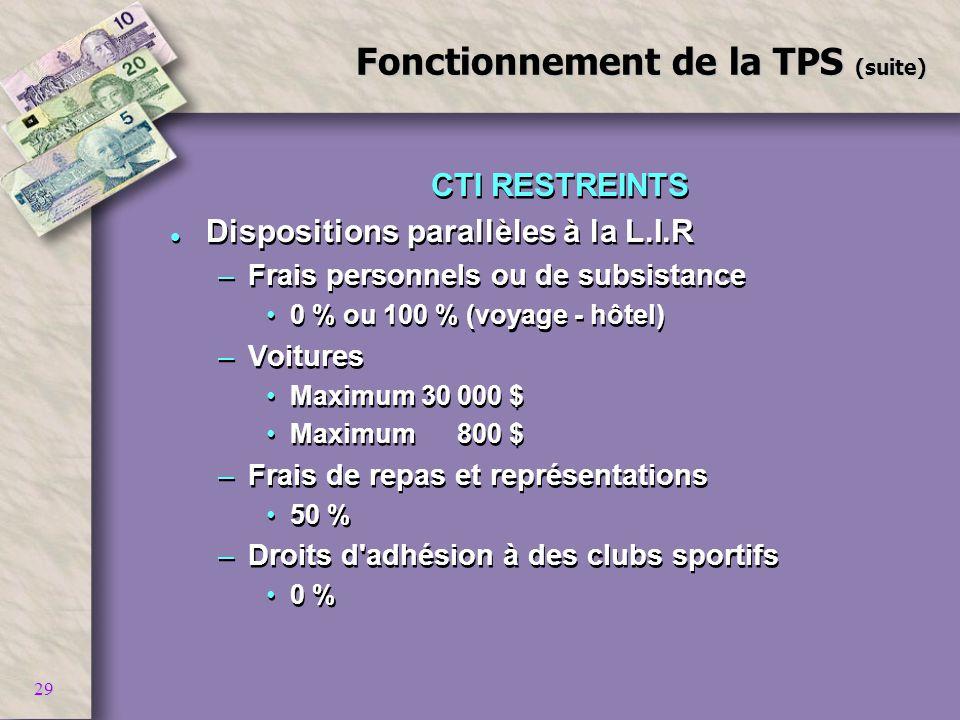 29 Fonctionnement de la TPS (suite) CTI RESTREINTS l Dispositions parallèles à la L.I.R –Frais personnels ou de subsistance 0 % ou 100 % (voyage - hôt