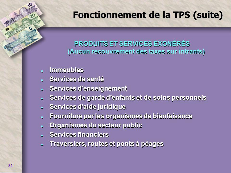 31 Fonctionnement de la TPS (suite) PRODUITS ET SERVICES EXONÉRÉS (Aucun recouvrement des taxes sur intrants) l Immeubles l Services de santé l Servic