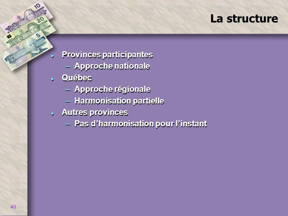 40 La structure l Provinces participantes –Approche nationale l Québec –Approche régionale –Harmonisation partielle l Autres provinces –Pas dharmonisa