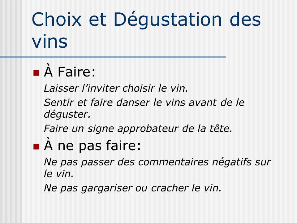 Choix et Dégustation des vins À Faire: Laisser linviter choisir le vin. Sentir et faire danser le vins avant de le déguster. Faire un signe approbateu