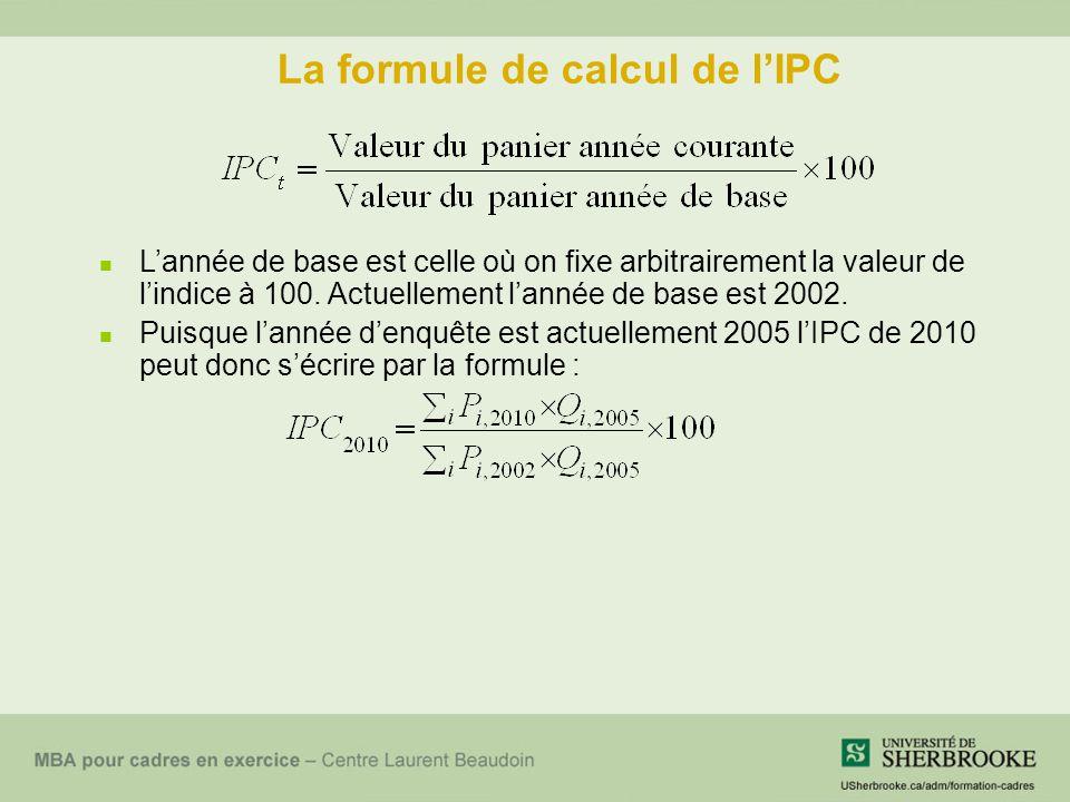 La formule de calcul de lIPC Lannée de base est celle où on fixe arbitrairement la valeur de lindice à 100.