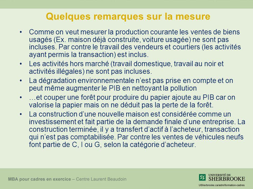 Quelques remarques sur la mesure Comme on veut mesurer la production courante les ventes de biens usagés (Ex.
