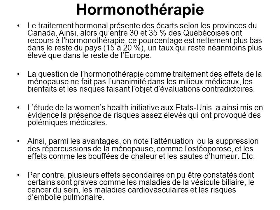 Hormonothérapie Le traitement hormonal présente des écarts selon les provinces du Canada, Ainsi, alors quentre 30 et 35 % des Québécoises ont recours à l hormonothérapie, ce pourcentage est nettement plus bas dans le reste du pays (15 à 20 %), un taux qui reste néanmoins plus élevé que dans le reste de lEurope.