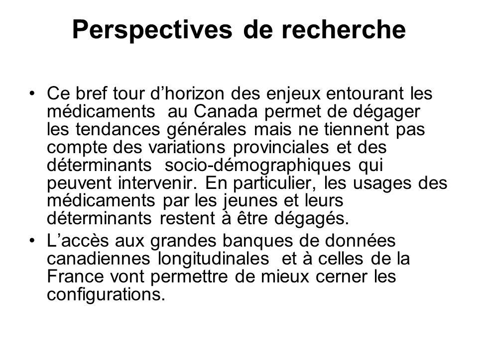 Perspectives de recherche Ce bref tour dhorizon des enjeux entourant les médicaments au Canada permet de dégager les tendances générales mais ne tiennent pas compte des variations provinciales et des déterminants socio-démographiques qui peuvent intervenir.