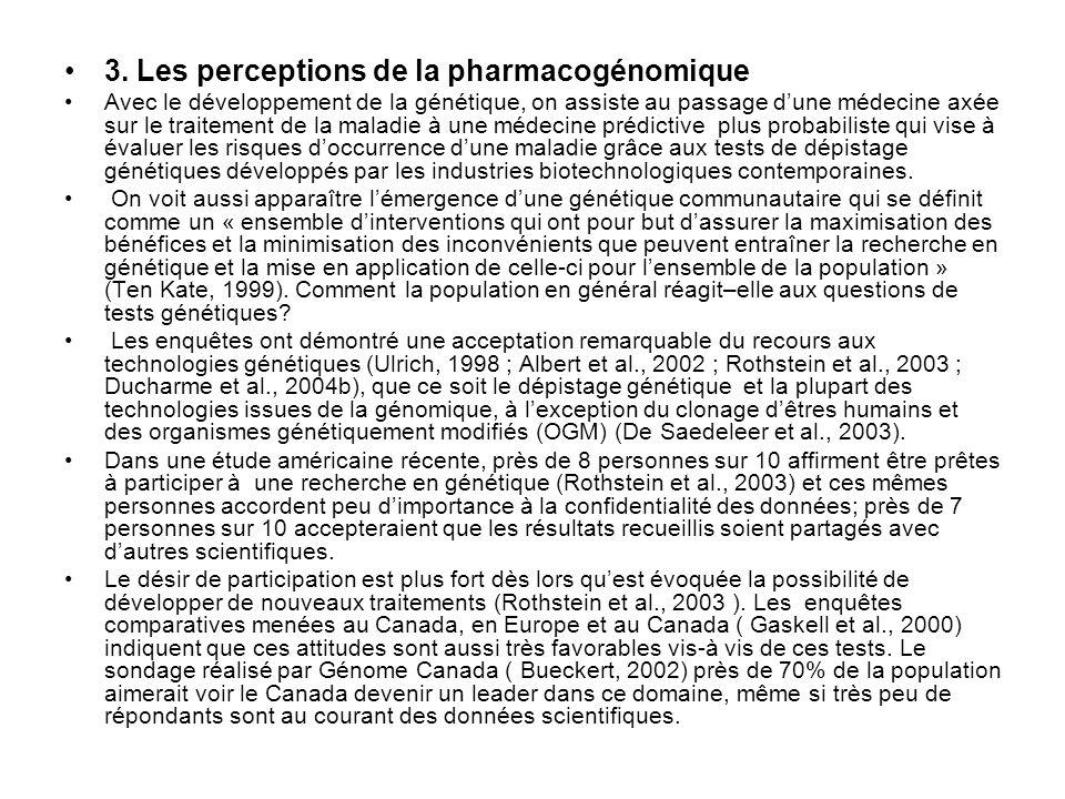 3. Les perceptions de la pharmacogénomique Avec le développement de la génétique, on assiste au passage dune médecine axée sur le traitement de la mal