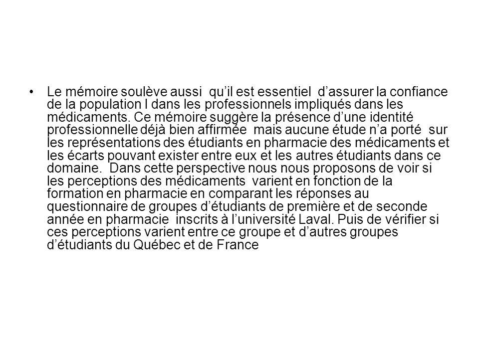 Le mémoire soulève aussi quil est essentiel dassurer la confiance de la population l dans les professionnels impliqués dans les médicaments.