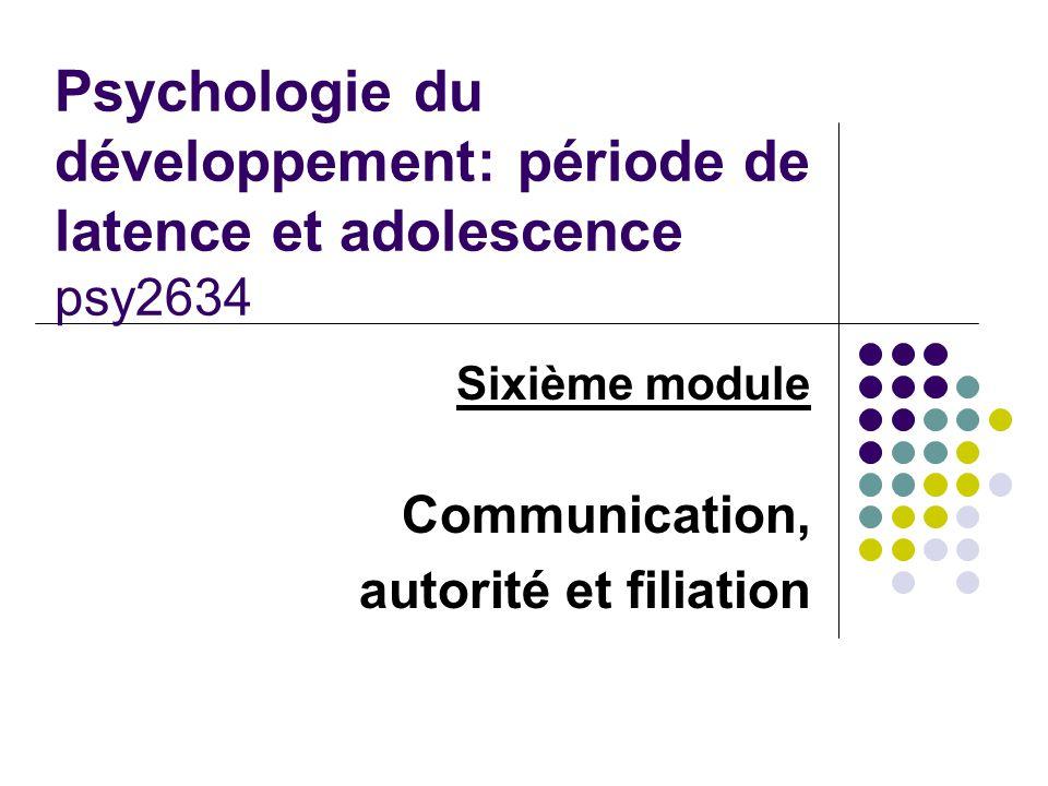 Sixième module Communication, autorité et filiation Psychologie du développement: période de latence et adolescence psy2634
