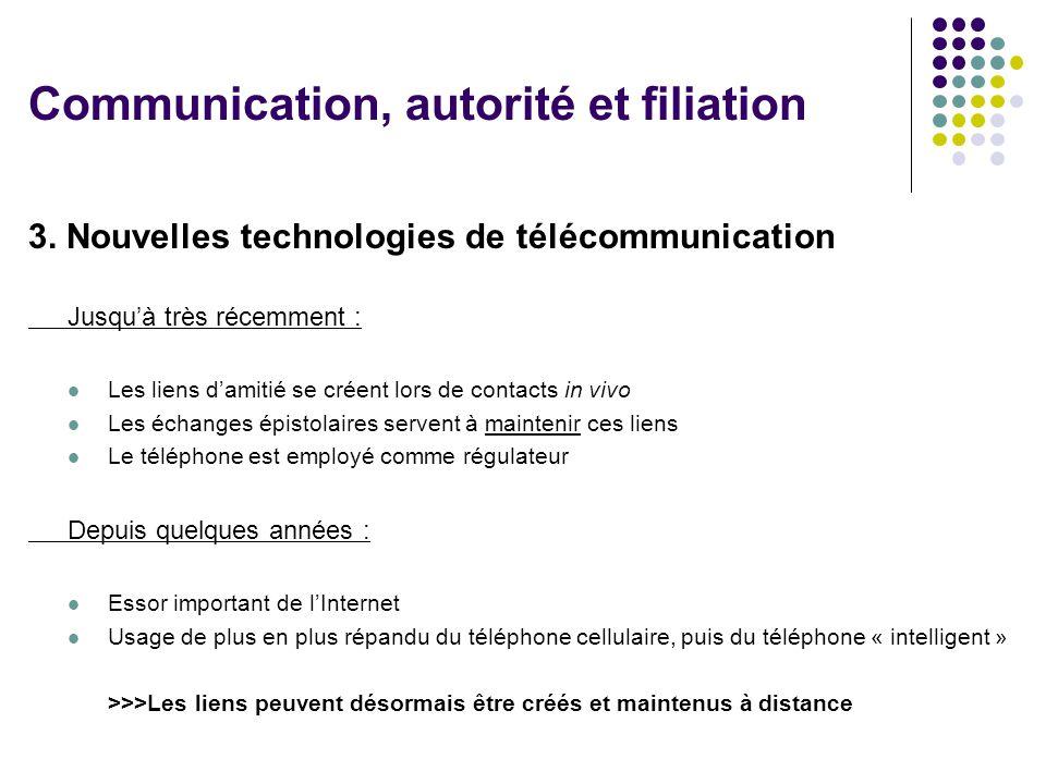 3. Nouvelles technologies de télécommunication Jusquà très récemment : Les liens damitié se créent lors de contacts in vivo Les échanges épistolaires