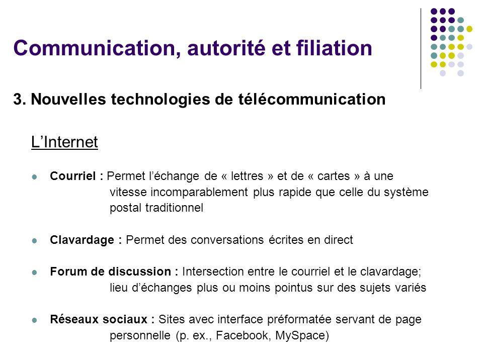 3. Nouvelles technologies de télécommunication LInternet Courriel : Permet léchange de « lettres » et de « cartes » à une vitesse incomparablement plu