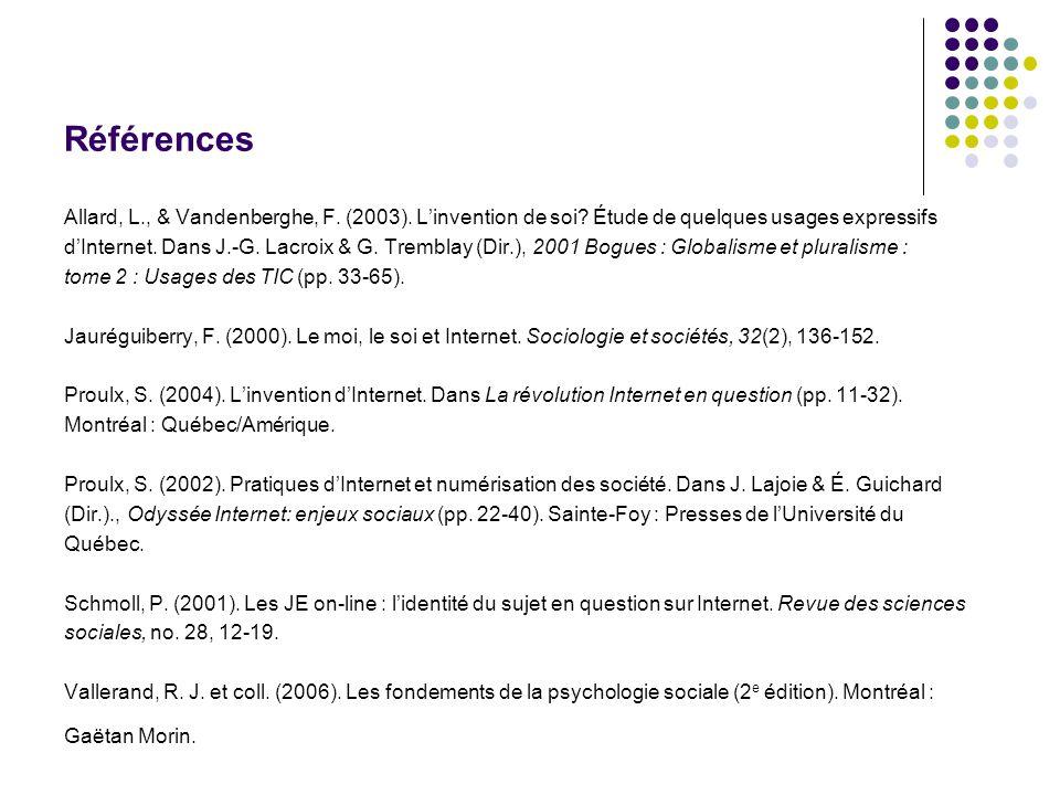 Références Allard, L., & Vandenberghe, F. (2003). Linvention de soi? Étude de quelques usages expressifs dInternet. Dans J.-G. Lacroix & G. Tremblay (