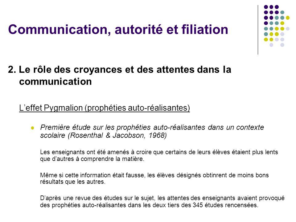 2. Le rôle des croyances et des attentes dans la communication Leffet Pygmalion (prophéties auto-réalisantes) Première étude sur les prophéties auto-r