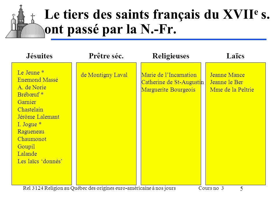 Rel 3124 Religion au Québec des origines euro-américaine à nos joursCours no 3 6 Les influences marquantes