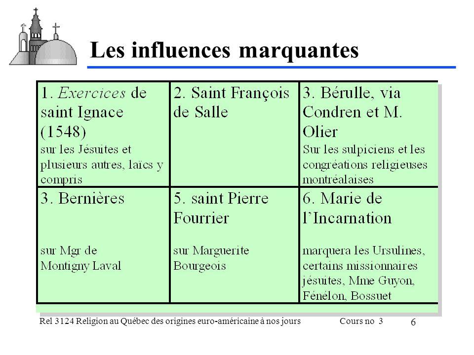 Rel 3124 Religion au Québec des origines euro-américaine à nos joursCours no 3 7 Les Exercices spirituels de s.