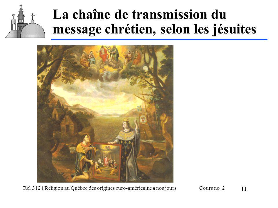 Rel 3124 Religion au Québec des origines euro-américaine à nos joursCours no 2 11 La chaîne de transmission du message chrétien, selon les jésuites