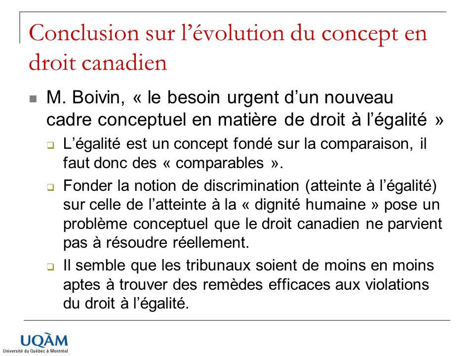 Conclusion sur lévolution du concept en droit canadien M. Boivin, « le besoin urgent dun nouveau cadre conceptuel en matière de droit à légalité » Lég