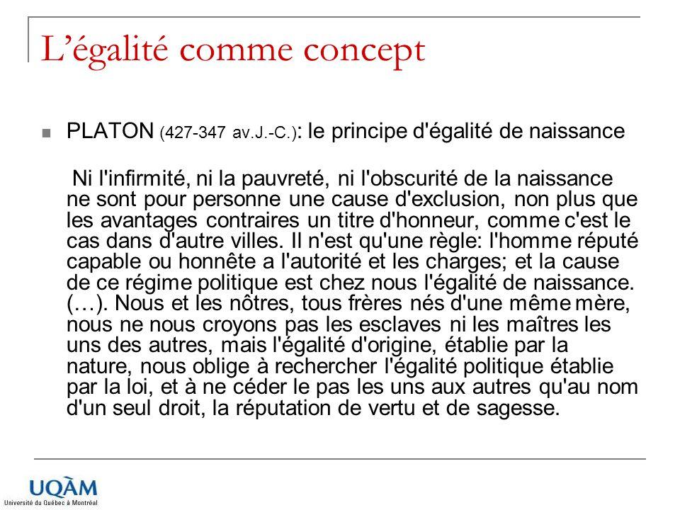 Légalité comme concept PLATON (427-347 av.J.-C.) : le principe d'égalité de naissance Ni l'infirmité, ni la pauvreté, ni l'obscurité de la naissance n