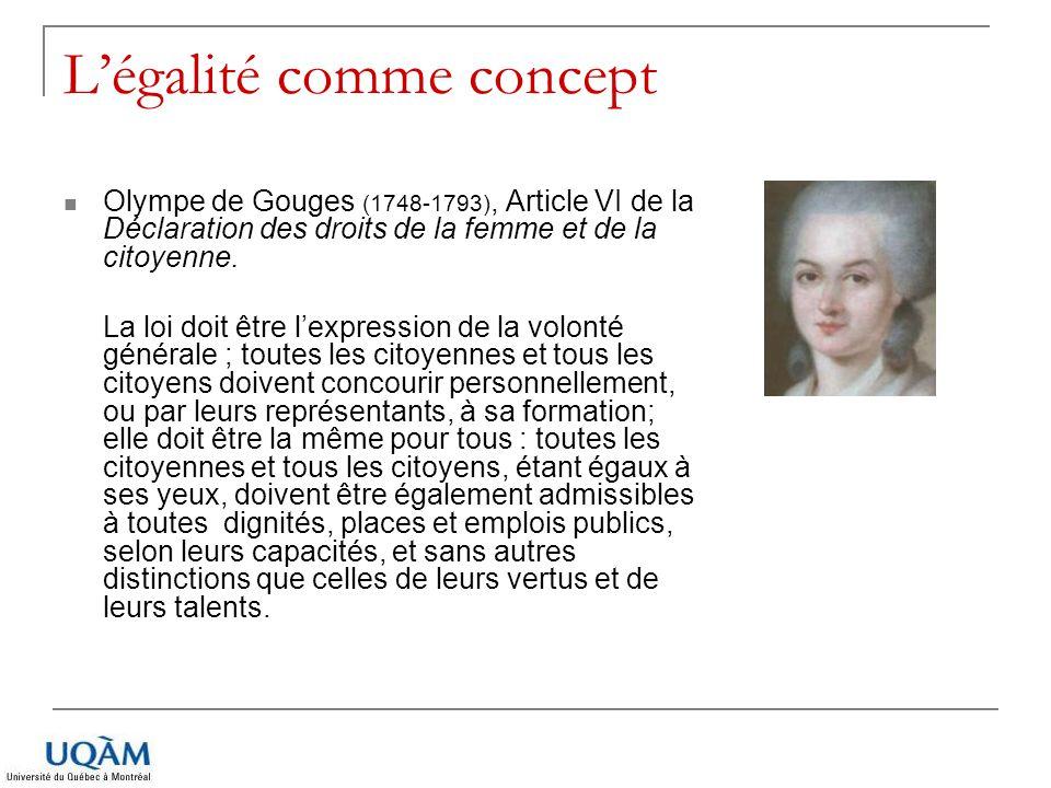 Légalité comme concept Olympe de Gouges (1748-1793), Article VI de la Déclaration des droits de la femme et de la citoyenne. La loi doit être lexpress