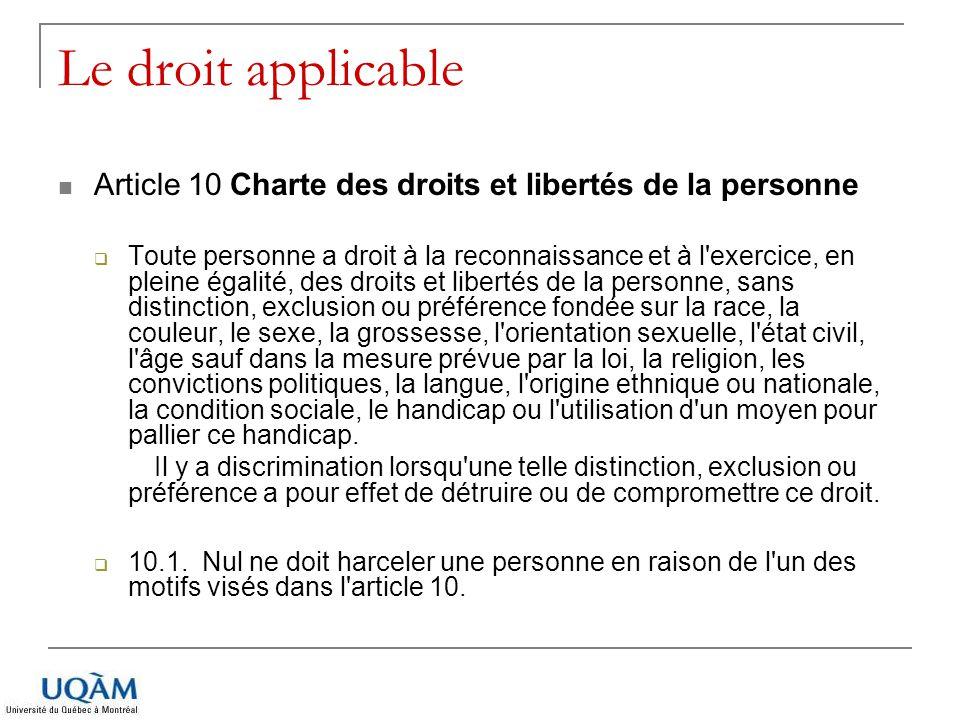 Le droit applicable Article 10 Charte des droits et libertés de la personne Toute personne a droit à la reconnaissance et à l'exercice, en pleine égal