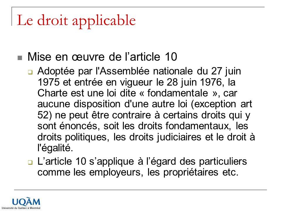 Le droit applicable Mise en œuvre de larticle 10 Adoptée par l'Assemblée nationale du 27 juin 1975 et entrée en vigueur le 28 juin 1976, la Charte est