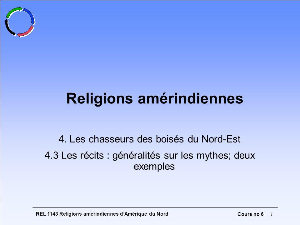 REL 1143 Religions amérindiennes dAmérique du Nord1 Cours no 6 Religions amérindiennes 4. Les chasseurs des boisés du Nord-Est 4.3 Les récits : généra