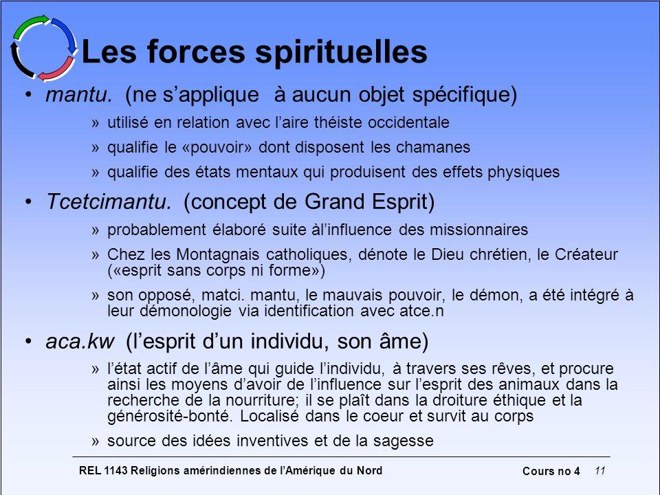 REL 1143 Religions amérindiennes de lAmérique du Nord11 Cours no 4 Les forces spirituelles mantu. (ne sapplique à aucun objet spécifique) »utilisé en