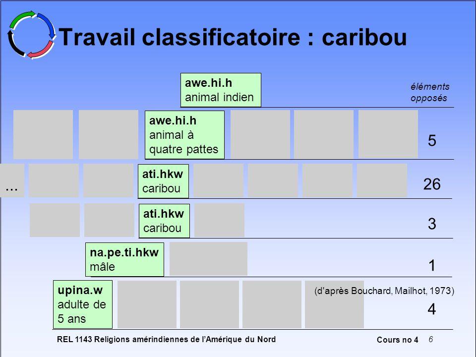 REL 1143 Religions amérindiennes de lAmérique du Nord6 Cours no 4 Travail classificatoire : caribou awe.hi.h animal indien na.pe.ti.hkw mâle ati.hkw c