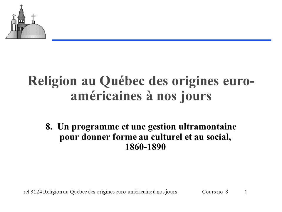 rel 3124 Religion au Québec des origines euro-américaine à nos joursCours no 8 1 Religion au Québec des origines euro- américaines à nos jours 8.