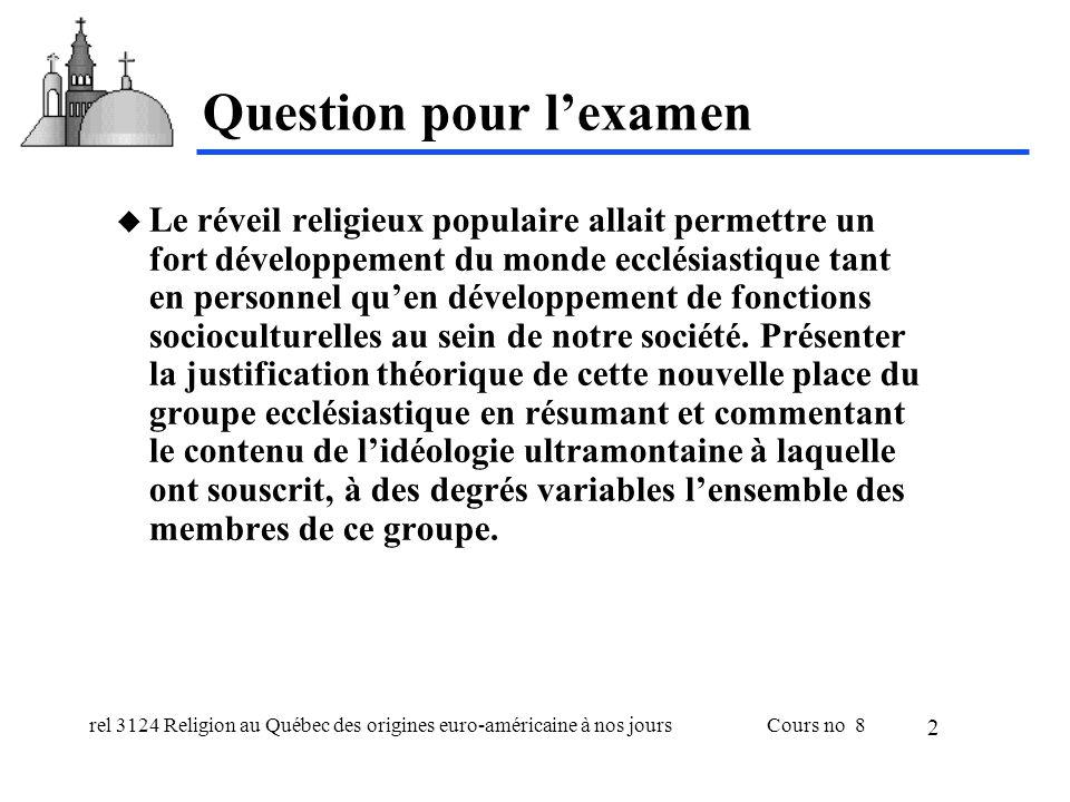 rel 3124 Religion au Québec des origines euro-américaine à nos joursCours no 8 3 Quest-ce que la question ultramontaine.