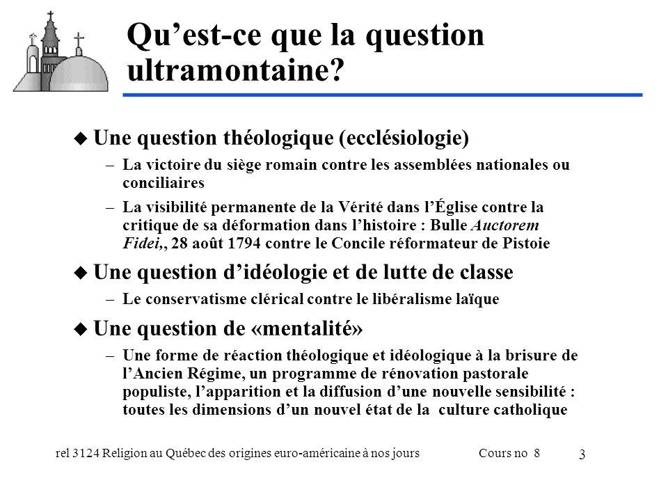 rel 3124 Religion au Québec des origines euro-américaine à nos joursCours no 8 4 Attitudes ultramontaines au XIX e s.
