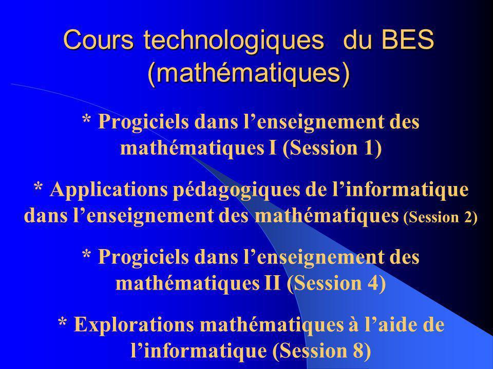 Progiciels dans lenseignement des mathématiques I Section didactique Département de mathématiques Automne 2006 Professeur: Fernando Hitt