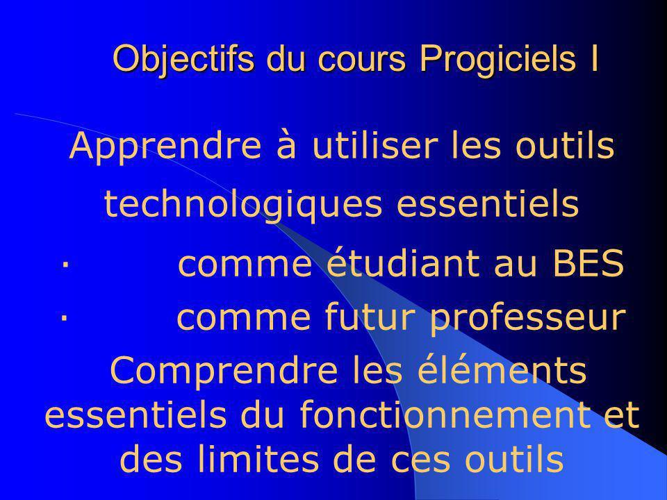 Cours technologiques du BES (mathématiques) * Progiciels dans lenseignement des mathématiques I (Session 1) * Applications pédagogiques de linformatiq