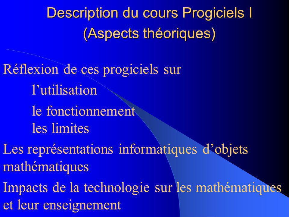 Description du cours Progiciels I (…types de progiciels) Graphisme matriciel VS vectoriel gestuel VS écrit Systèmes de calculs symboliques généraux VS
