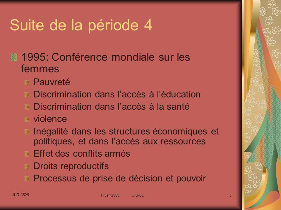 JUR 6525 Hiver 2009 G.B-LG8 Suite de la période 4 1995: Conférence mondiale sur les femmes Pauvreté Discrimination dans laccès à léducation Discrimination dans laccès à la santé violence Inégalité dans les structures économiques et politiques, et dans laccès aux ressources Effet des conflits armés Droits reproductifs Processus de prise de décision et pouvoir