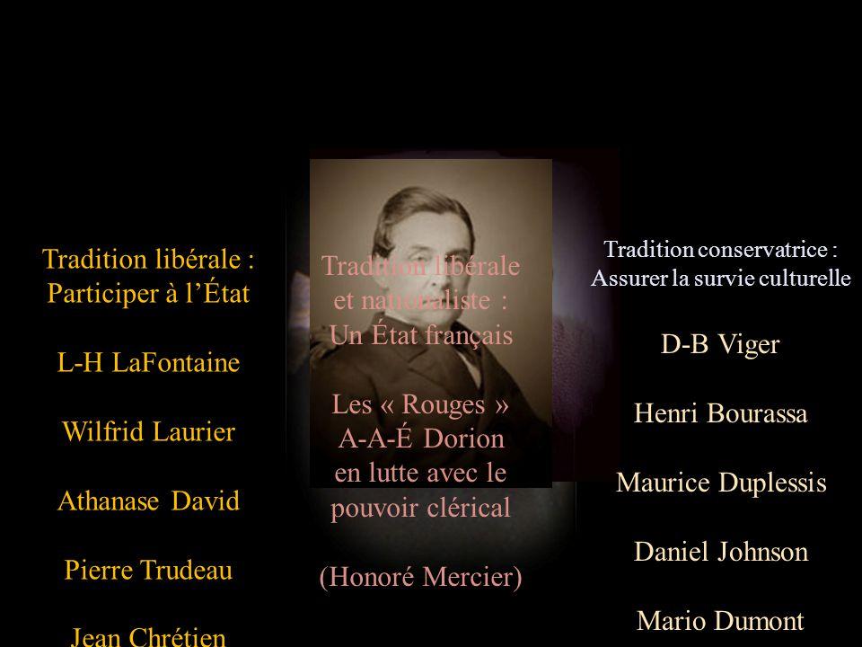 Tradition libérale : Participer à lÉtat L-H LaFontaine Wilfrid Laurier Athanase David Pierre Trudeau Jean Chrétien Stéphane Dion Tradition conservatri