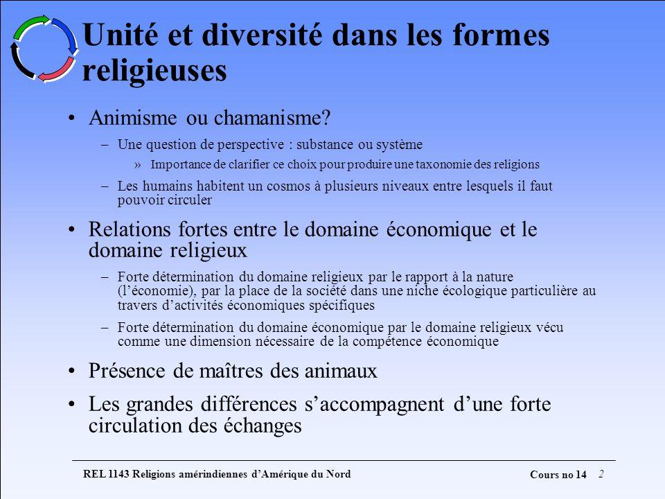 REL 1143 Religions amérindiennes dAmérique du Nord2 Cours no 14 Unité et diversité dans les formes religieuses Animisme ou chamanisme? –Une question d