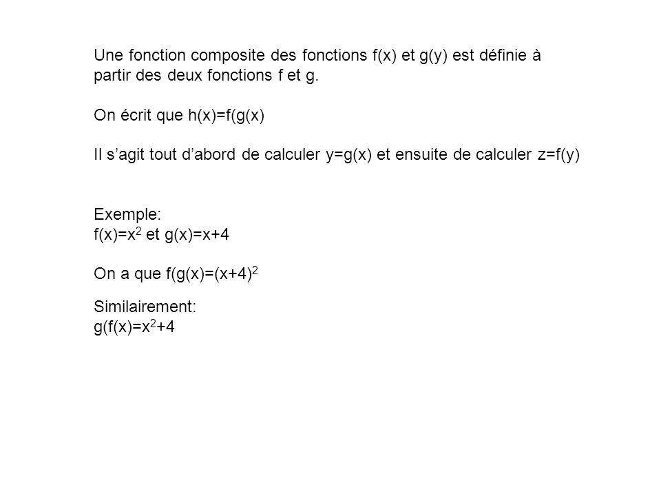 Une fonction composite des fonctions f(x) et g(y) est définie à partir des deux fonctions f et g. On écrit que h(x)=f(g(x) Il sagit tout dabord de cal