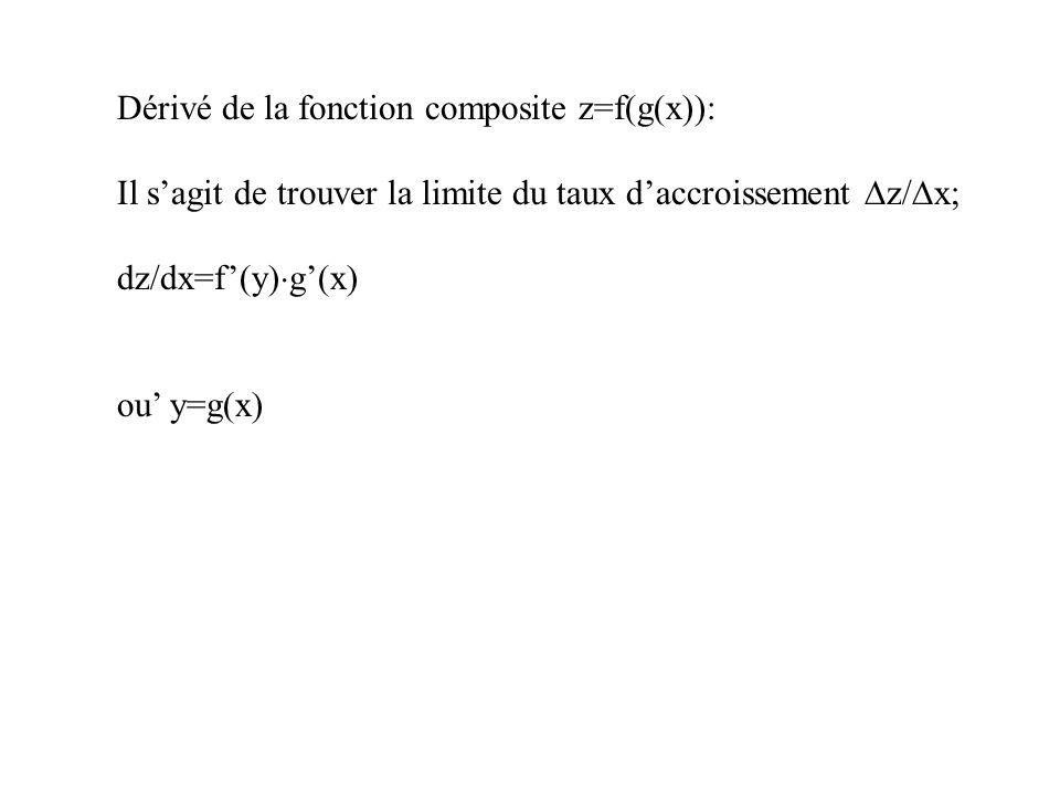 Dérivé de la fonction composite z=f(g(x)): Il sagit de trouver la limite du taux daccroissement z/ x; dz/dx=f(y) g(x) ou y=g(x)