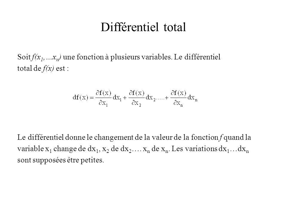 Différentiel total Soit f(x 1,…x n ) une fonction à plusieurs variables. Le différentiel total de f(x) est : Le différentiel donne le changement de la