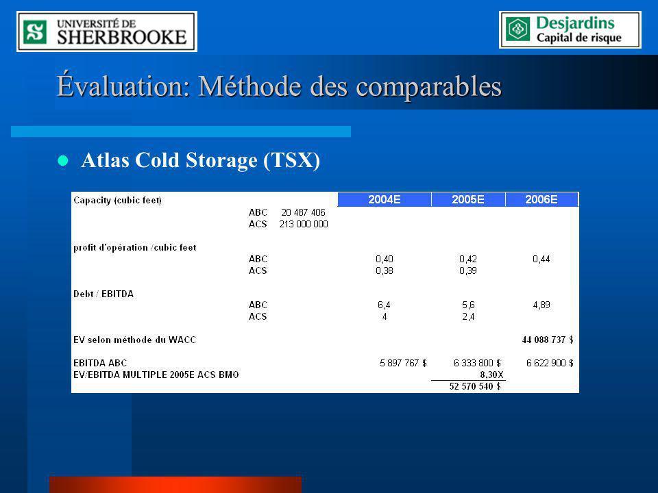 Évaluation: Méthode des comparables Atlas Cold Storage (TSX)