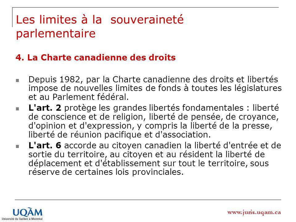 www.juris.uqam.ca 4. La Charte canadienne des droits Depuis 1982, par la Charte canadienne des droits et libertés impose de nouvelles limites de fonds