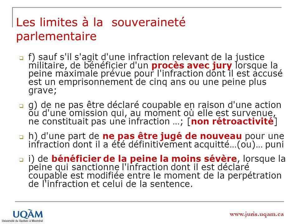 www.juris.uqam.ca f) sauf s'il s'agit d'une infraction relevant de la justice militaire, de bénéficier d'un procès avec jury lorsque la peine maximale