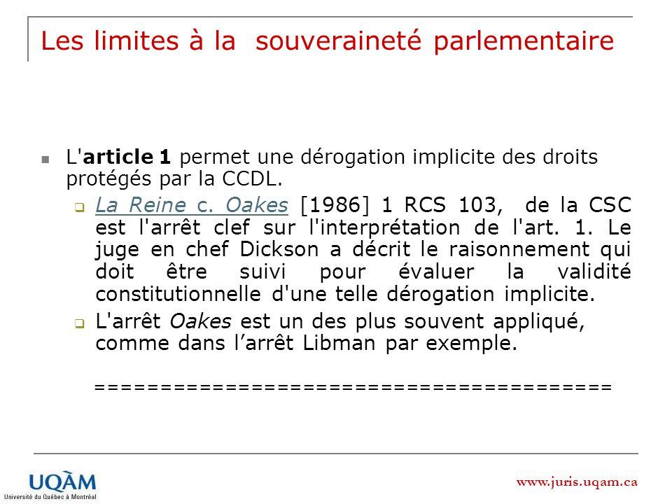 www.juris.uqam.ca Les limites à la souveraineté parlementaire L'article 1 permet une dérogation implicite des droits protégés par la CCDL. La Reine c.