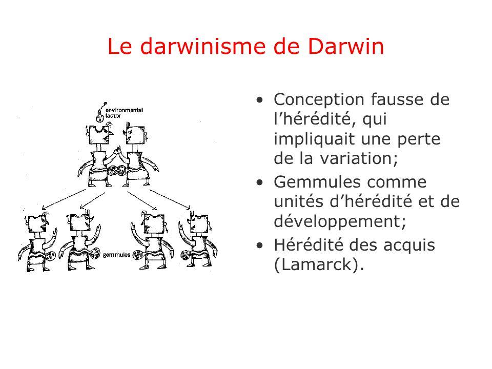 Le darwinisme de Darwin Conception fausse de lhérédité, qui impliquait une perte de la variation; Gemmules comme unités dhérédité et de développement; Hérédité des acquis (Lamarck).