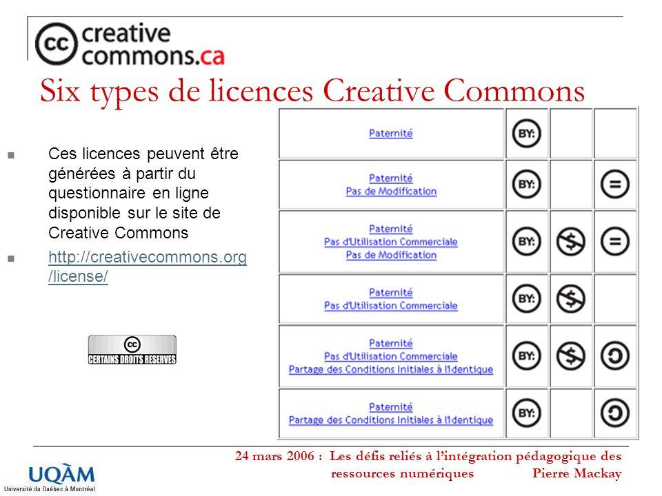 24 mars 2006 : Les défis reliés à lintégration pédagogique des ressources numériques Pierre Mackay Six types de licences Creative Commons Ces licences