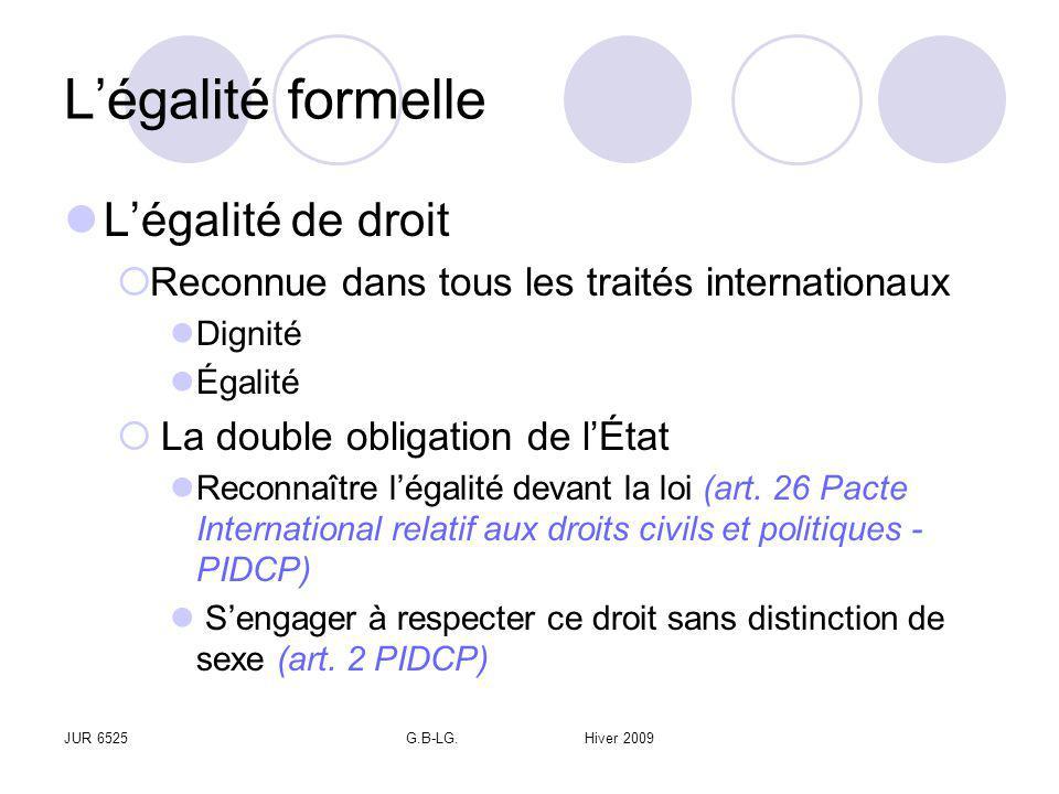 JUR 6525G.B-LG. Hiver 2009 Légalité formelle Légalité de droit Reconnue dans tous les traités internationaux Dignité Égalité La double obligation de l