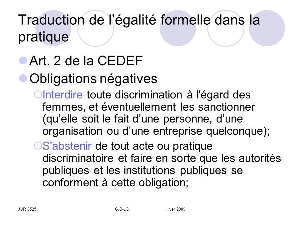 JUR 6525G.B-LG. Hiver 2009 Traduction de légalité formelle dans la pratique Art. 2 de la CEDEF Obligations négatives Interdire toute discrimination à