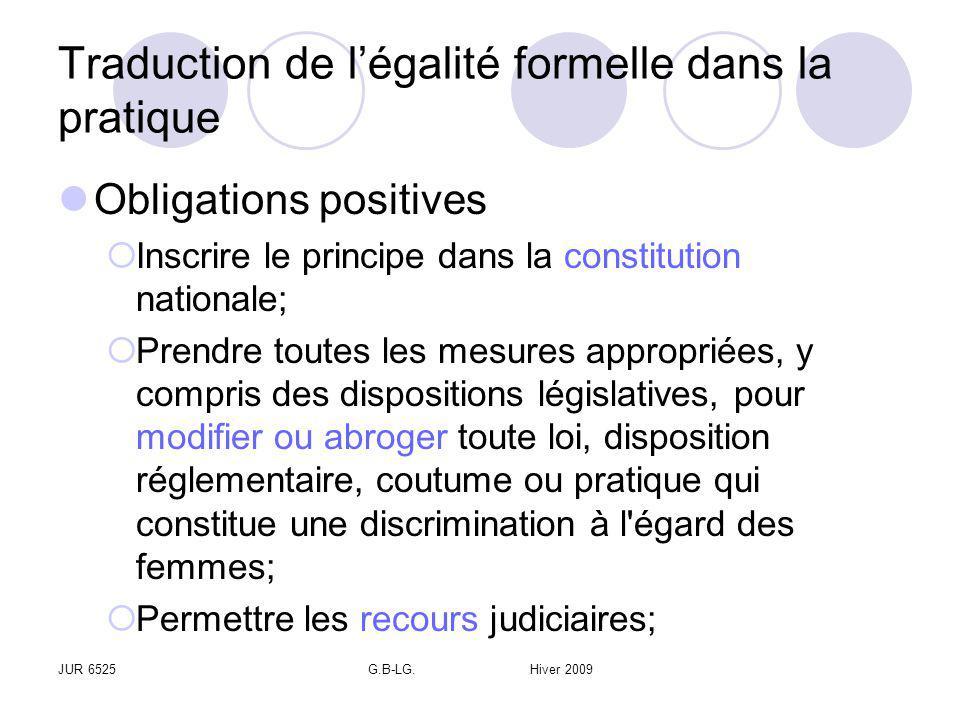 JUR 6525G.B-LG. Hiver 2009 Traduction de légalité formelle dans la pratique Obligations positives Inscrire le principe dans la constitution nationale;
