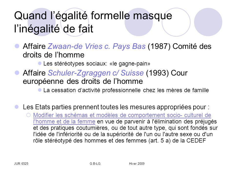 JUR 6525G.B-LG. Hiver 2009 Quand légalité formelle masque linégalité de fait Affaire Zwaan-de Vries c. Pays Bas (1987) Comité des droits de lhomme Les