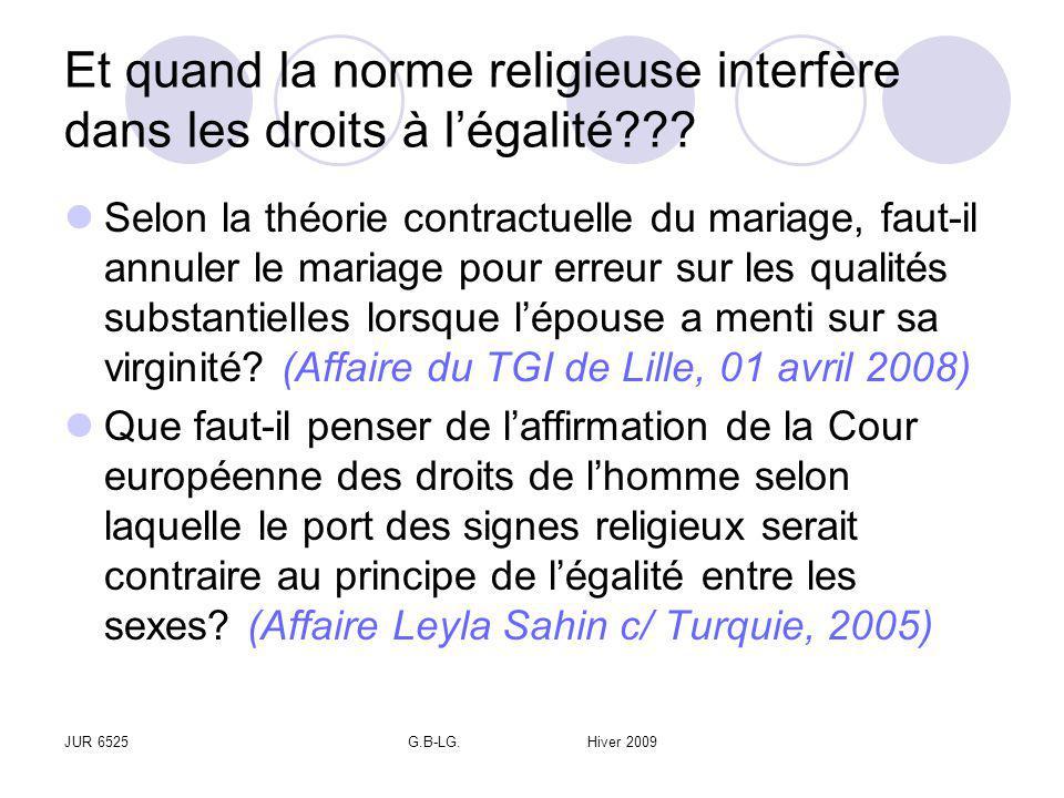 JUR 6525G.B-LG. Hiver 2009 Et quand la norme religieuse interfère dans les droits à légalité??? Selon la théorie contractuelle du mariage, faut-il ann